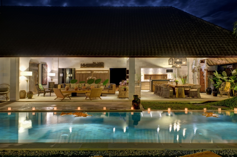Living Area with Pool View at Night - Abaca Villas - Seminyak, Bali