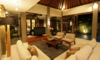 Living Area with TV at Night - Akara Villas 1 - Seminyak, Bali