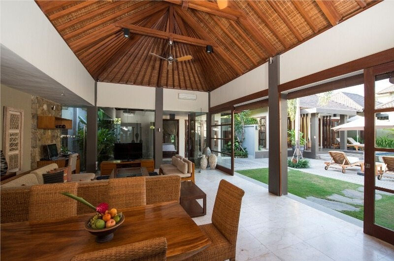 Living and Dining Area with Pool View - Akara Villas - Seminyak, Bali