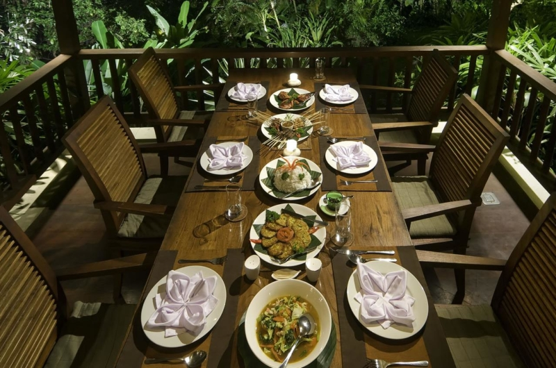 Dining Table with Food - Alamanda Villa - Ubud, Bali