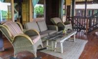Living Area with Wooden Floor - Atas Awan Villa - Ubud, Bali