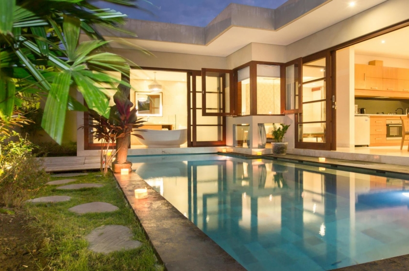 Gardens and Pool at Night - Beautiful Bali Villas - Seminyak, Bali