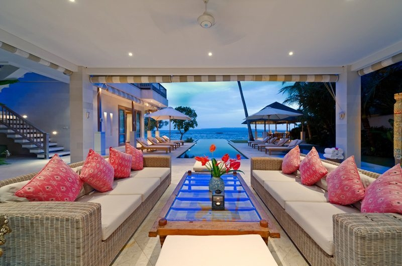 Living Area with Pool View - Cempaka Villa - Candidasa, Bali