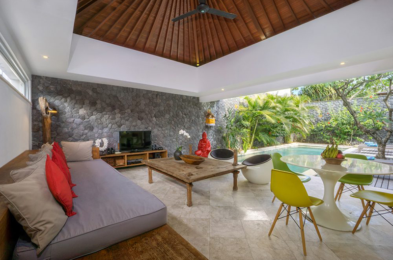 Living Area with Pool View - Chakra Villas - Villa Anahata - Seminyak, Bali