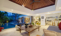 Living and Dining Area with Pool View - Chakra Villas - Villa Anahata - Seminyak, Bali