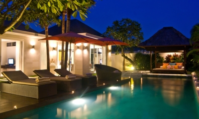 Pool Side Seating Area at Night - Chandra Villas - Seminyak, Bali