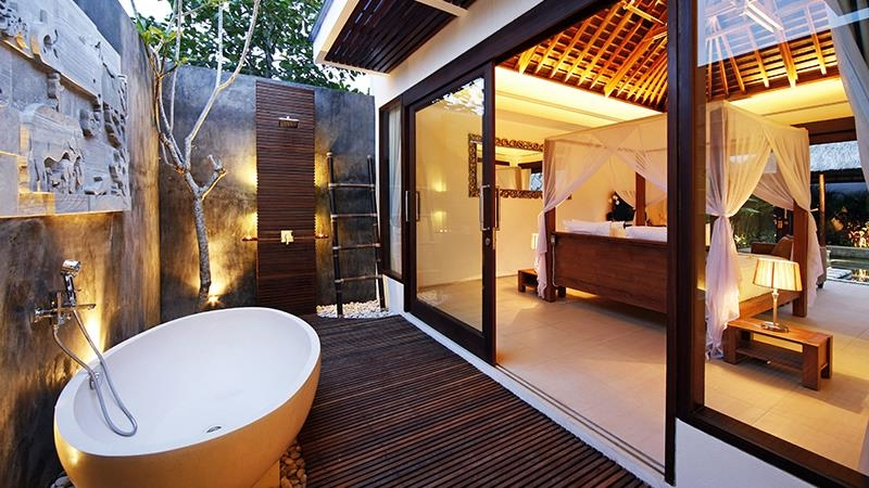 Bedroom and Semi Open Bathroom at Night - Chandra Villas - Seminyak, Bali