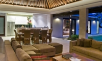 Living, Kitchen and Dining Area at Night - Chandra Villas - Seminyak, Bali
