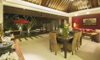 Living and Dining Area at Night - Chandra Villas 7 - Seminyak, Bali