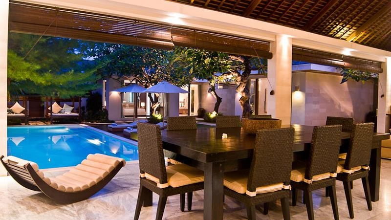 Pool Side Dining at Night - Chandra Villas 8 - Seminyak, Bali