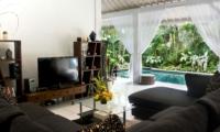 Living Area with Pool View - Esha Drupadi I - Seminyak, Bali