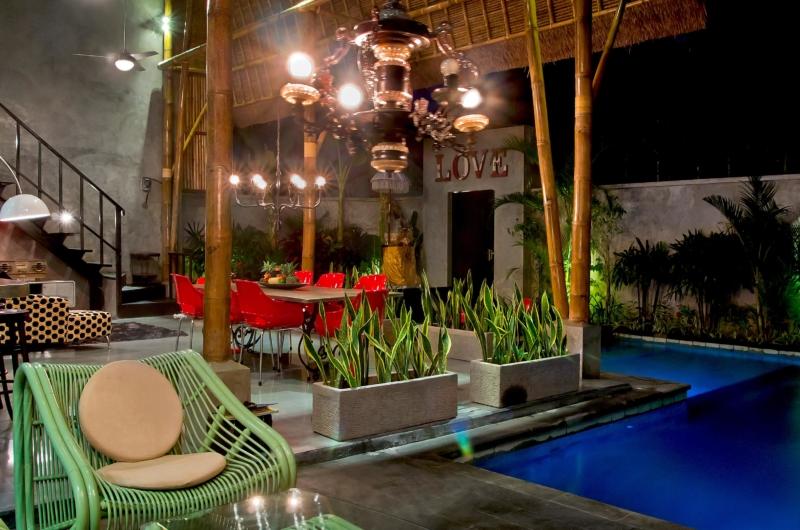 Pool Side Seating Area at Night - Esha Seminyak 2 - Seminyak, Bali