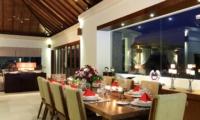 Dining Area at Night - Kemala Villa - Canggu, Bali