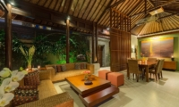 Living and Dining Area at Night - Lakshmi Villas - Seminyak, Bali