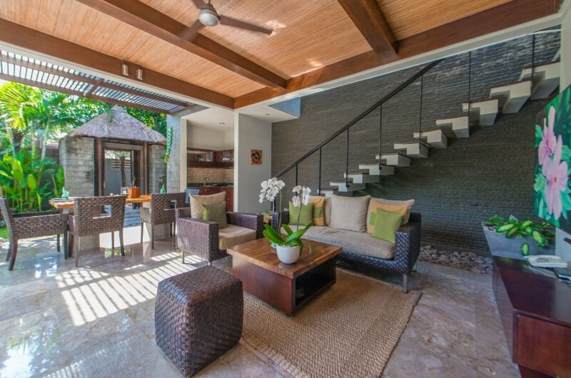 Living and Dining Area with Up Stairs - Le Jardin Villas - Seminyak, Bali