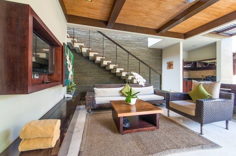 Living Area with Up Stairs - Le Jardin Villas - Seminyak, Bali