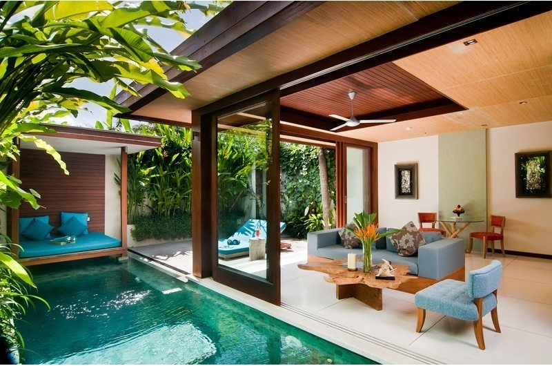Living Area with Pool View - Maca Villas - Seminyak, Bali