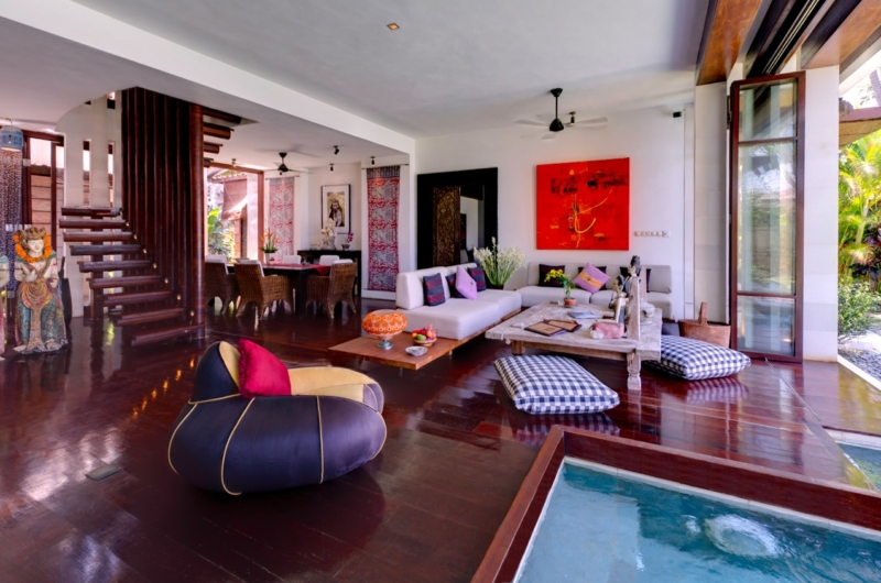 Living and Dining Area with Wooden Floor - Majapahit Beach Villas - Sanur, Bali
