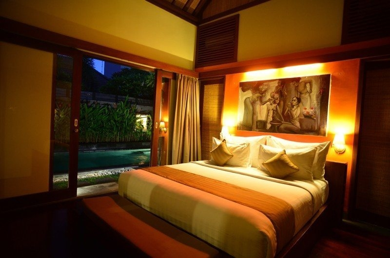 Pool Side Bedroom at Night - Nyuh Bali Villas - Seminyak, Bali