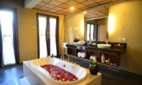 Romantic Bathtub Set Up with Rose Petals - Nyuh Bali Villas - Seminyak, Bali