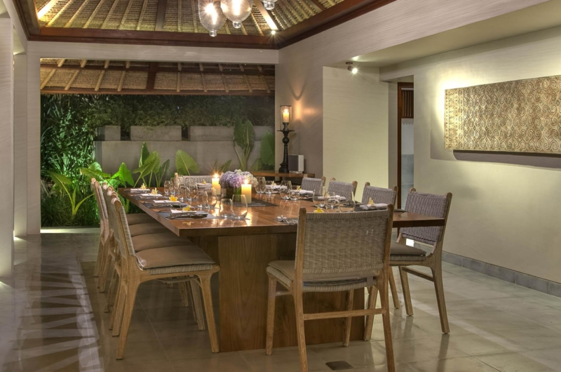 Dining Area at Night - Seseh Beach Villa 2 - Seseh, Bali