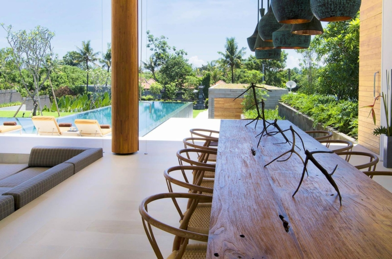 Indoor Living and Dining Area with Pool View - The Iman Villa - Pererenan, Bali