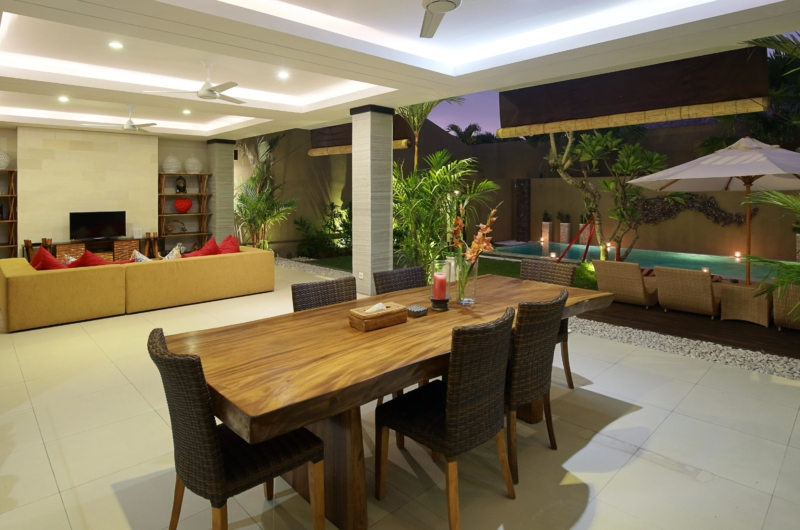Living and Dining Area at Night - The Kumpi Villas - Seminyak, Bali