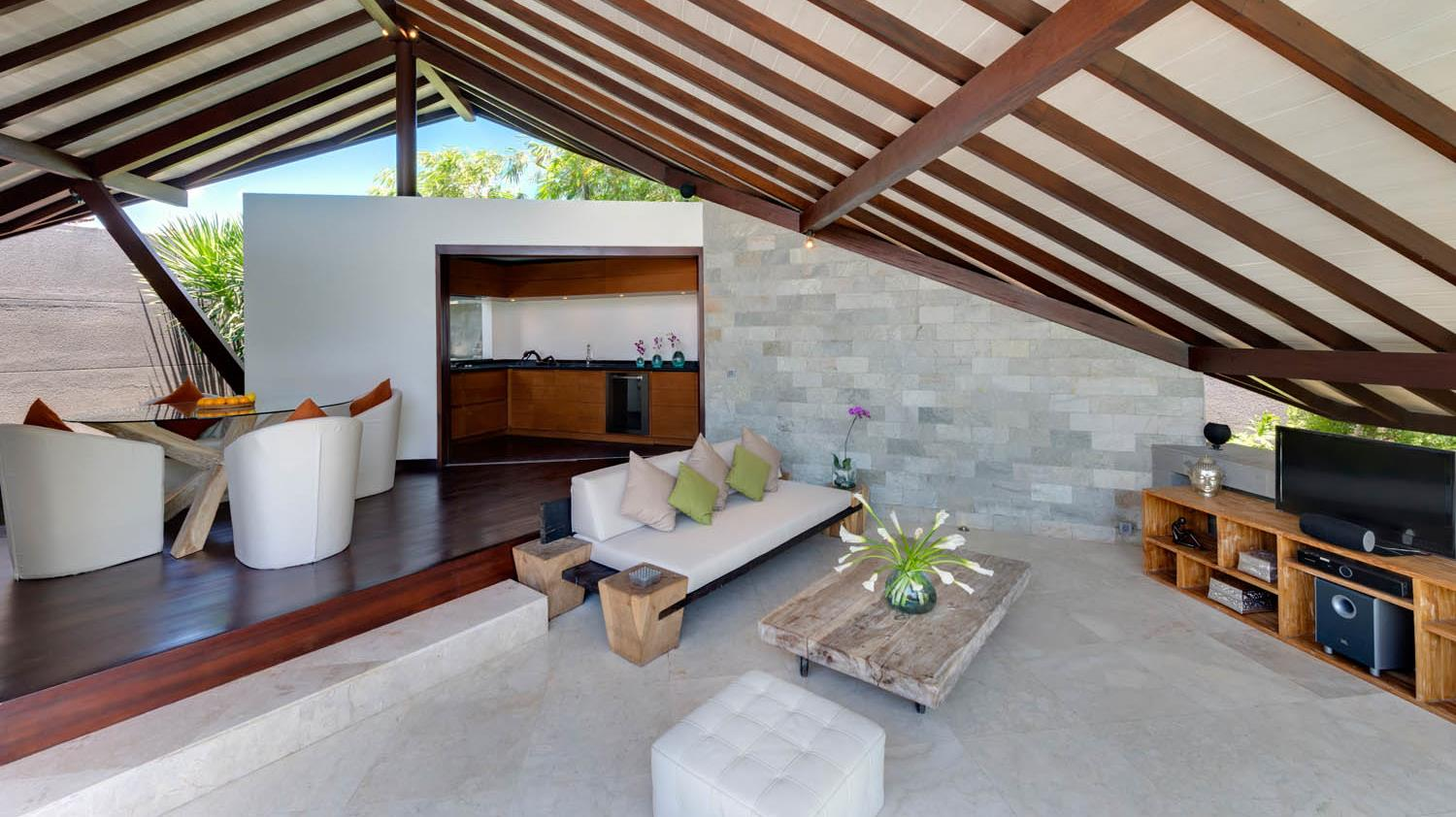 Indoor Living and Dining Area with TV - The Layar - Seminyak, Bali
