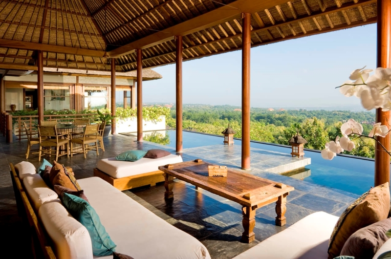 Living Area with Pool View - The Longhouse - Jimbaran, Bali