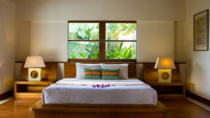 Bedroom with Table Lamps - The Lotus Residence - Tabanan, Bali