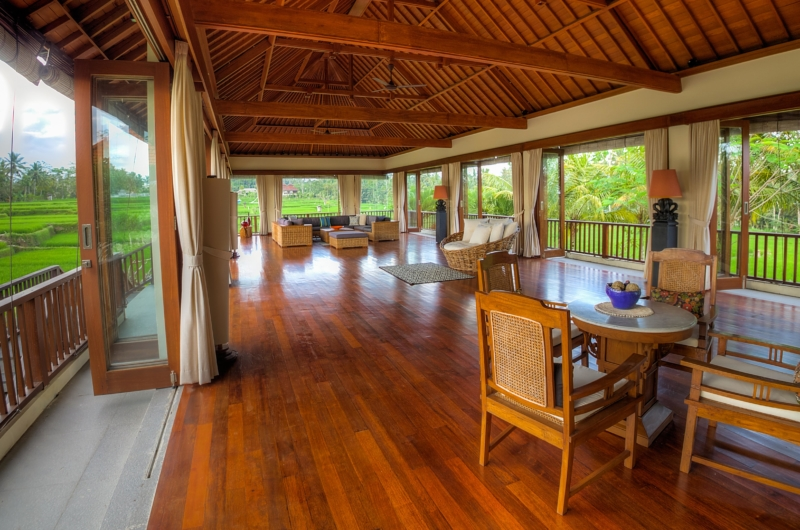 Living and Dining Area with Wooden Floor - The Malabar House - Ubud, Bali