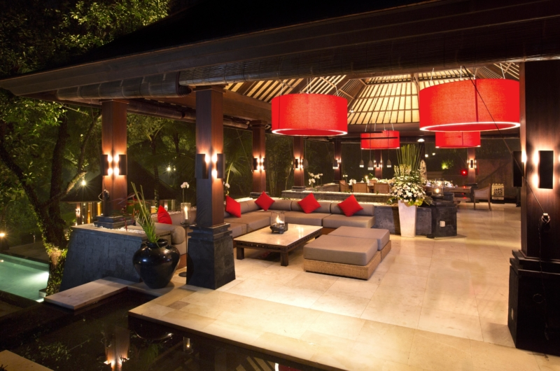 Living and Dining Area with Pool View at Night - The Sanctuary Bali - Canggu, Bali