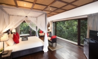 Bedroom with Wooden Floor and TV - The Sanctuary Bali - Canggu, Bali