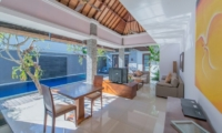 Living and Dining Area with TV - The Wolas Villas - Seminyak, Bali