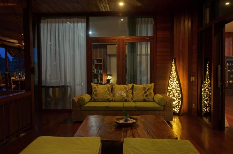 Indoor Seating Area at Night - Umah Di Sawah - Canggu, Bali