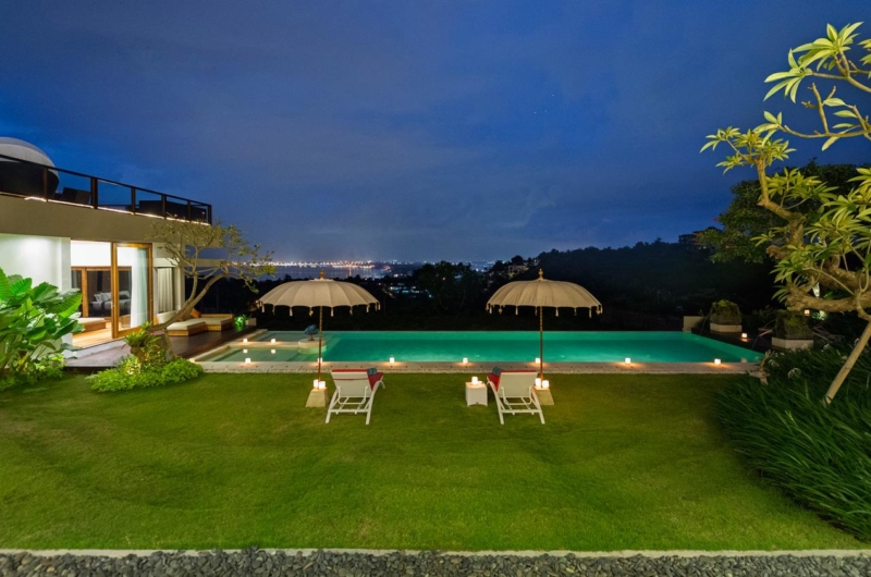 Pool Side Loungers at Night - Villa Aiko - Jimbaran, Bali