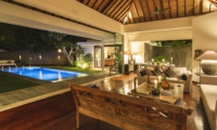 Living Area with Pool View at Night - Villa Alabali - Seminyak, Bali