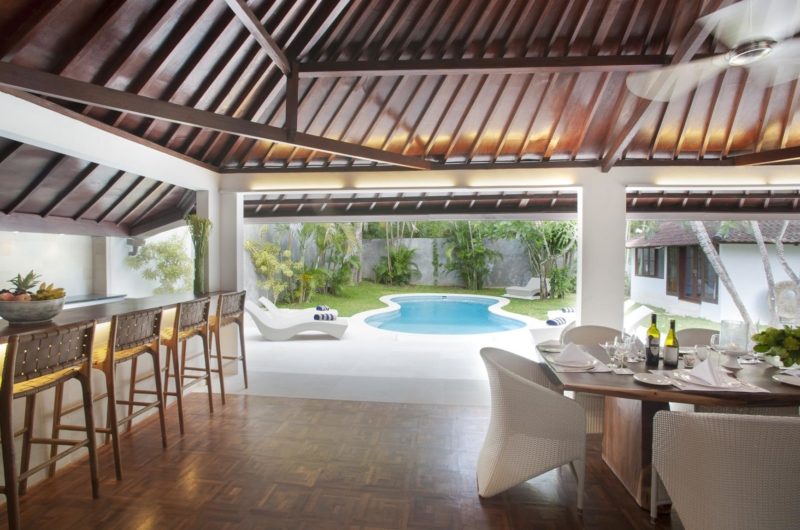 Kitchen and Dining Area with Pool View - Villa Amaya - Seminyak, Bali