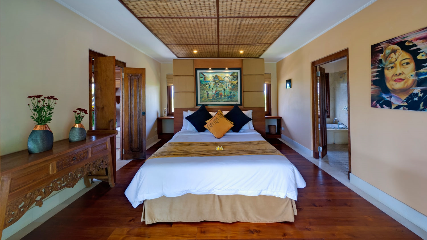 Bedroom with Wooden Floor - Villa Asmara - Seseh, Bali