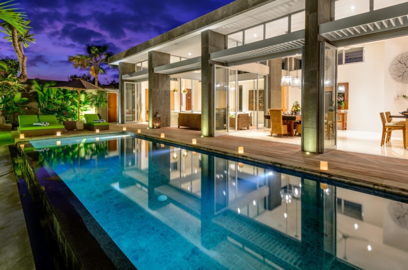 Swimming Pool at Night - Villa Bamboo Aramanis - Seminyak, Bali