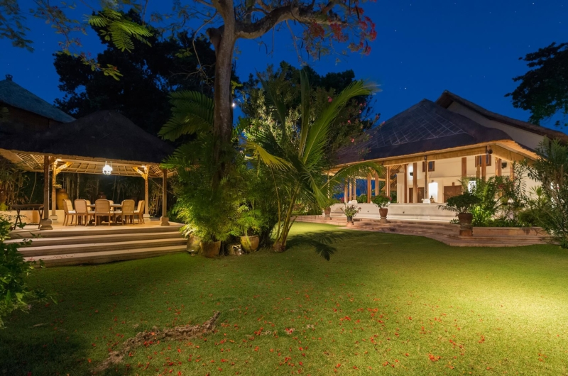 Open Air Lounge Area at Night - Villa Batujimbar - Sanur, Bali