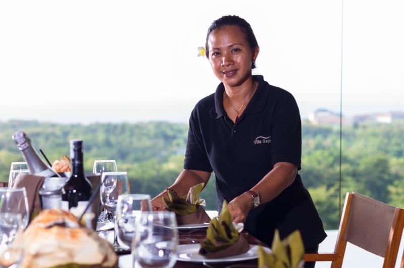 Dining Area with Staff - Villa Bayu - Uluwatu, Bali