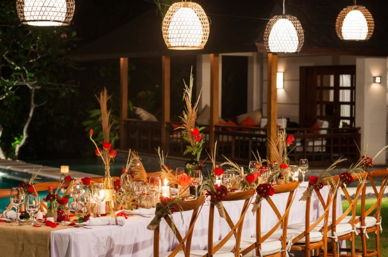 Romantic Dining Set Up with Pool View - Villa Beji - Canggu, Bali