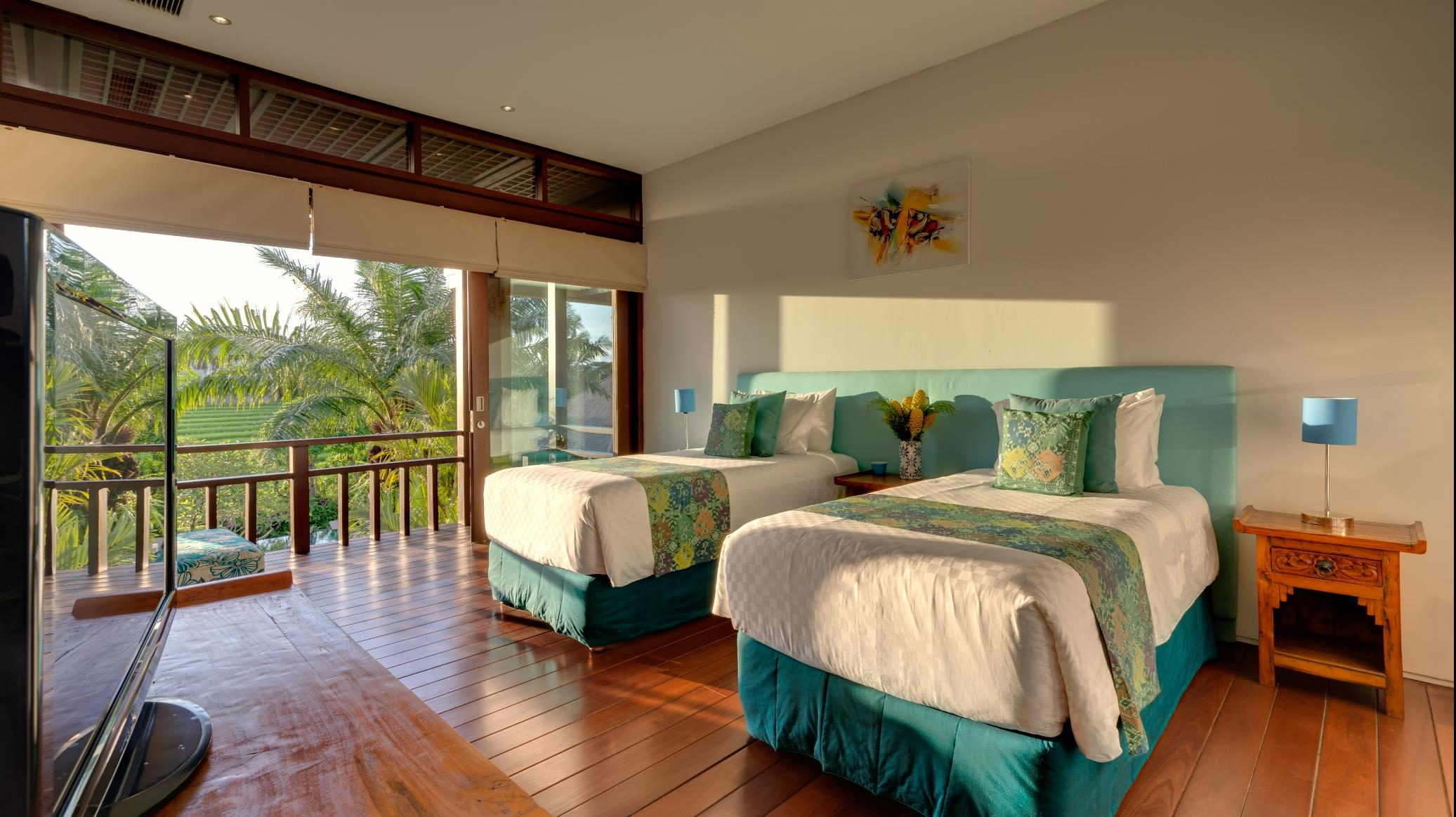 Twin Bedroom with View - Villa Bendega Nui - Canggu, Bali