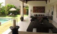 Indoor Living and Dining Area with Pool View - Villa Chocolat - Seminyak, Bali