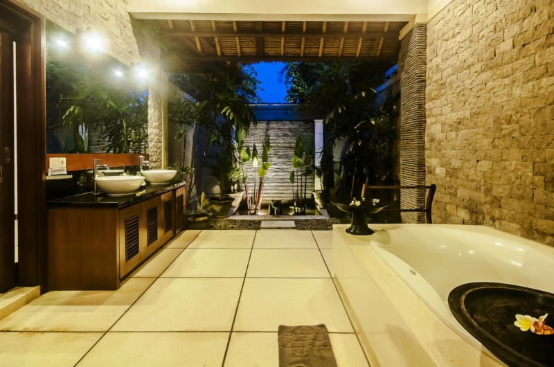 His and Hers Bathroom at Night - Villa Damai - Seminyak, Bali