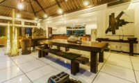 Indoor Kitchen and Dining Area at Night - Villa Damai - Seminyak, Bali