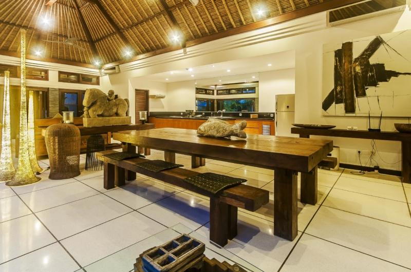 Indoor Kitchen and Dining Area at Night - Villa Damai - Seminyak, Bali