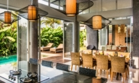 Kitchen and Dining Area with Pool View - Villa Damai Aramanis - Seminyak, Bali
