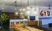 Kitchen and Dining Area with Lamps - Villa Damai Lestari - Seminyak, Bali